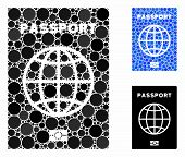 Passport Mosaic Of Round Dots In Different Sizes And Color Tints, Based On Passport Icon. Vector Rou poster