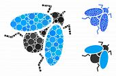 Fly Insect Composition Of Small Circles In Various Sizes And Shades, Based On Fly Insect Icon. Vecto poster