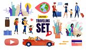 Vector Travelling Set With Cartoon Happy Tourists Family Characters. Parents And Children With Lugga poster