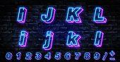 3d Neon Letters I-l. Neon Blue Font English. City Blue Font. Neon City Color Blue Font. English Alph poster