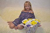 Beautiful Blonde Loves Beautiful Flowers. Beautiful Blonde Loves Beautiful Flowers. poster