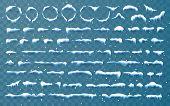 Snow Caps, Snowballs And Snowdrifts Set. Snow Cap Vector Collection. Winter Decoration Element. Snow poster