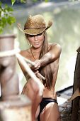 stock photo of cowgirl  - Sexy Cowgirl - JPG