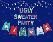 Vector Hand Drawn Background With Hanging Ugly Christmas Sweaters  And String Lights. Christmas Holi poster