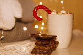 Cocoa With Cozy Winter Home Background, Cup Of Hot Cacao With Cookies, Warm Knitted Sweater On Vholi poster