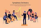 Symphony Orchestra Musicians Playing Classical Instrumental Music On Stage poster