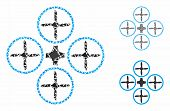 Quadcopter Composition Of Humpy Pieces In Various Sizes And Color Tinges, Based On Quadcopter Icon.  poster