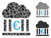 Euro Cloud Banking Mosaic Of Raggy Items In Various Sizes And Color Hues, Based On Euro Cloud Bankin poster