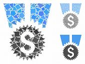 Financial Medal Mosaic Of Joggly Pieces In Different Sizes And Color Tinges, Based On Financial Meda poster