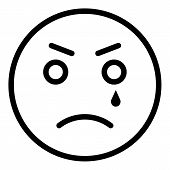 Crying Emoji Icon. Outline Crying Emoji Vector Icon For Web Design Isolated On White Background poster