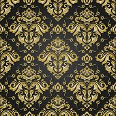 Classic Seamless Black And Golden Pattern. Damask Orient Ornament. Classic Vintage Background. Orien poster