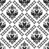Classic Seamless Pattern. Damask Orient Black And White Ornament. Classic Vintage Background. Orient poster