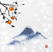 Date Plum Tree And Far Blue Mountains On White Glowing Background. Traditional Oriental Ink Painting poster