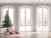 Classical Empty Room Decorate With Christmas Tree 3d Render,the Room Has Wooden Floors And White Woo poster