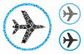 Airport Mosaic Of Bumpy Parts In Variable Sizes And Color Tinges, Based On Airport Icon. Vector Bump poster