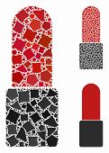 Cosmetics Mosaic Of Rough Elements In Variable Sizes And Color Hues, Based On Cosmetics Icon. Vector poster