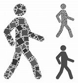 Walking Man Mosaic Of Rough Elements In Different Sizes And Shades, Based On Walking Man Icon. Vecto poster