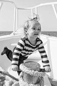 Baby Enjoy Sea Cruise. Boy Sailor Travel Sea. Boy Sea Yacht Travel Around World. Sea Traveller. Time poster