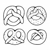 Set Of Various Outline Pretzels. Objects Are Separate From The Background. German Appetizer. Treats  poster