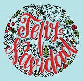 Feliz Navidad Lettering. Merry Christmas Spanish Text Holiday Lettering Vector Illustration. poster