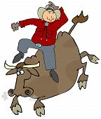 image of bull riding  - This illustration depicts a cowboy riding a bull - JPG