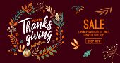Hand Drawn Happy Thanksgiving Typography In Autumn Wreath Banner. Celebration Text With Berries And  poster
