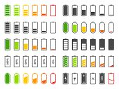 Battery Icons. Charging Level Batteries Charge Indicator, Alkaline Tags Rechargeable Levels. Full, L poster