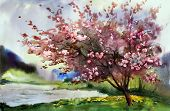 stock photo of expressionism  - Watercolor painting landscape with blooming spring tree with flowers - JPG
