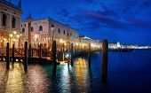 Evening Venice Italy. View with water at Doges Palace. Picturesque panorama historical old town with poster