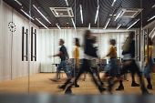 Group Of Office Employees At Coworking Center. Business People Walking At Modern Open Space. Motion  poster