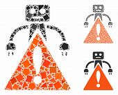 Robot Warning Composition Of Inequal Items In Various Sizes And Shades, Based On Robot Warning Icon. poster