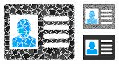 Account Card Mosaic Of Joggly Parts In Different Sizes And Color Tints, Based On Account Card Icon.  poster