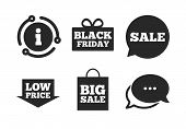 Black Friday Gift Box Symbol. Chat, Info Sign. Sale Speech Bubble Icon. Big Sale Shopping Bag. Low P poster