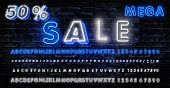 Mega Sale Neon Sign, Neon Banner, Background Brochure. Bright Glowing Advertising, Sales Discounts B poster