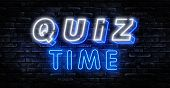 Quiz Time Announcement Poster Neon Signboard Vector. Pub Quiz Vintage Styled Neon Glowing Letters Sh poster