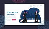 Professional Guardian Assistance Website Landing Page. Bodyguards In Black Suit Waiting Celebrity Vi poster