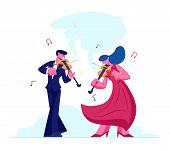 Musicians With Instruments Perform On Stage With Violins, Symphony Orchestra Classical Music Concert poster