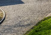 Detail Of A Famous Crossroad On The Cobblestone Road Muur Van Geraardsbergen Located In Belgium. On  poster