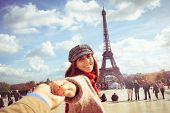 Traveler Girl In Vacation In Paris. Young Traveler Girl Leading Photographer In Vacation. Girl Trave poster