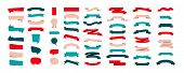 Set Of Colorful Ribbon Banners Isolated On White Background. Ribbons Banners Collection Different Sh poster