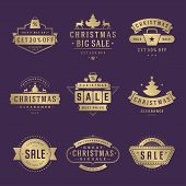 Christmas Sale Labels And Badges With Text Typographic Decoration Design Vector Vintage Style Set poster