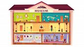 Natural History, Ethnographic, Paleontology, Art Museum Cartoon . Cross Section Building With Egypti poster