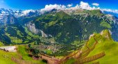 Mountain Range Breithorn Of Pennine Alps And Lauterbrunnen Valley In Swiss Alps, Switzerland As Seen poster