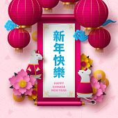 Chinese New Year 2020. Papercut Clothed Rat Character, Flowers, Clouds, Hanging Lanterns. Greeting T poster