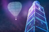 Beautiful Abstract Surreal Airship Balloon And Town Landscape Cosmos Space Collage Concept, Contempo poster