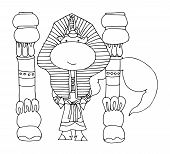 Coloring Book For Kids - Unicorn In The Costume Of An Egyptian Pharaoh Near The Columns. Black And W poster
