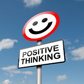 picture of think positive  - Illustration depicting a road traffic sign with a positive thinking concept - JPG