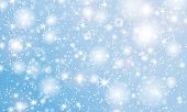 Snow Background. Vector Illustration With Snowflakes. Winter Blue Sky. Christmas Background. Falling poster