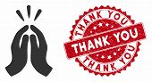 Vector Thank You Icon And Rubber Round Stamp Seal With Thank You Caption. Flat Thank You Icon Is Iso poster