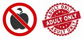 Vector No Apple Fruit Icon And Rubber Round Stamp Watermark With Adult Only Phrase. Flat No Apple Fr poster